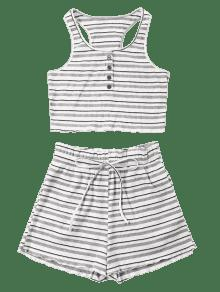 L Pantal A Corto Conjunto Blanco De Rayas 243;n Stripe Racerback 51q5P6xzwI