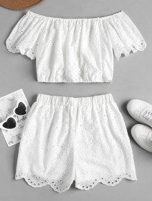 Hombro Pantalones Ojal De S De Cortos De Conjunto Blanco qYOw5