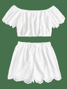 De S Blanco Cortos Conjunto De De Pantalones Hombro Ojal dUqdn8vxz