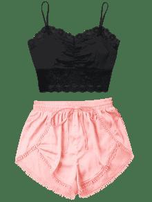 Pantalones Encaje Cortos De Con Ajuste En De Contraste Encaje Negro De S Conjunto 5Z8Ew1