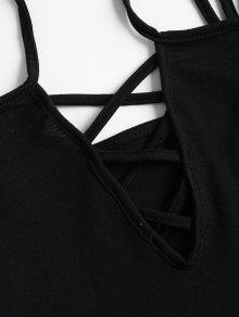 Cross Strappy Sin Camisa Criss Negro Cami Xl Mangas A6XqxwR