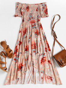 Smocked الأزهار قبالة الكتف فستان ميدي - ارتفع M
