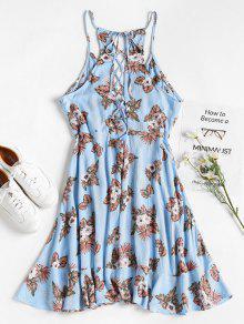 Falda Floral Con L Con Volantes Vestido Celeste De Ligero Volantes TwqIWv5