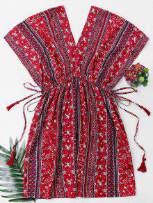 ارتفاع الخصر مطبوعة اللباس البوهيمي - أحمر Xl