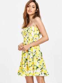 Smocked De Amarillo Slip S Limones Vestido UTqf6w4x