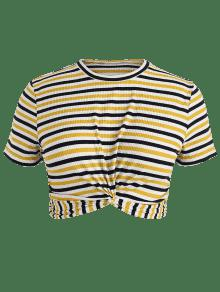 Multicolor De Camiseta Rayas Cuello Con Redondo 2x qvx6Zzx