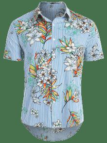 Azul Hawaii Con De A Flores Rayas Oc Camisa 8nxHYT6