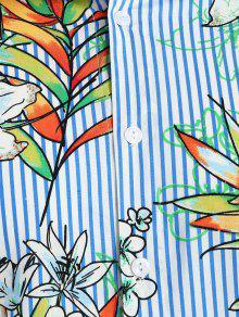 Hawaii Con Oc Flores De Azul Rayas Camisa A qZwFfxH4R