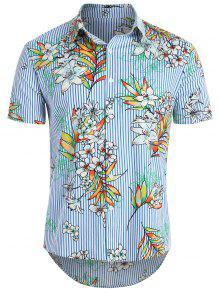 قميص مخطط زهرة هاواي - محيط أزرق S