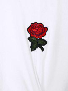 L Camiseta Blanco En Con Twist Rose Bordado Espiral wHOAw1z