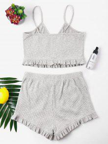 Frill Gris Knit S Trims Cami Shorts Set Claro 6qpAwd