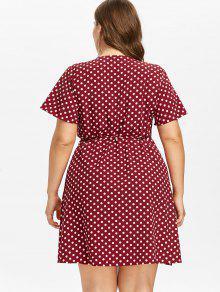 941f999b7efe3 31% OFF  2019 Plus Size Mini Polka Dot Wrap Dress In RED WINE