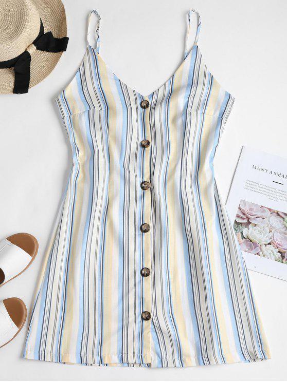 shop Striped Buttoned Tie Back Mini Dress - WHITE S