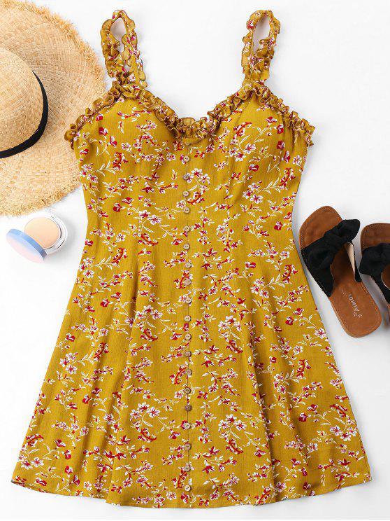 فستان الأزهار طباعة أزرار - الحافلة المدرسية الصفراء XL