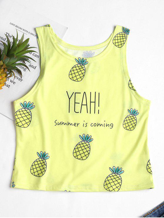 Débardeur à Imprimé Ananas et Lettre - Jaune Taille Unique