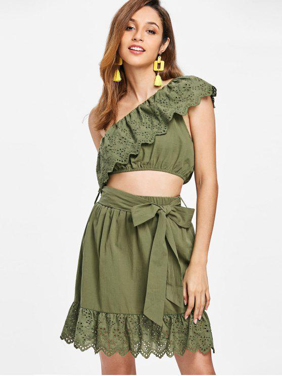 womens Flounce One Shoulder Two Piece Dress - ARMY GREEN M