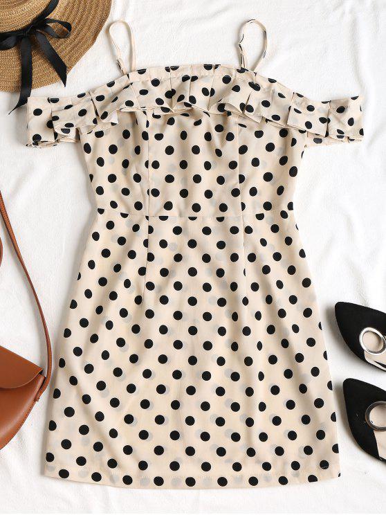 outfits Polka Dot Frilled Mini Dress - APRICOT M