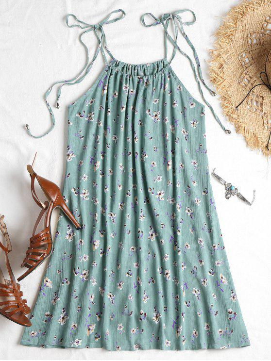 latest Knotted Floral Cami Dress - CYAN OPAQUE S