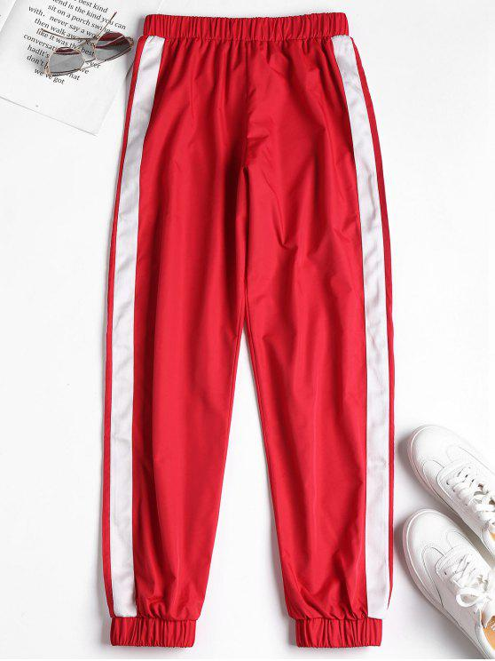fancy Stripe Side Jogger Tracksuit Pants - RED M