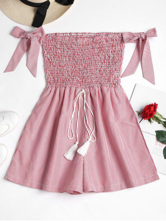 fashion Smocked Striped Cute Romper - RED S