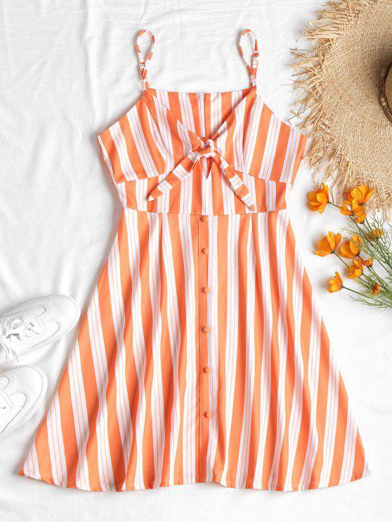 Vestido mini a rayas delanteras atadas - Naranja Oscuro S