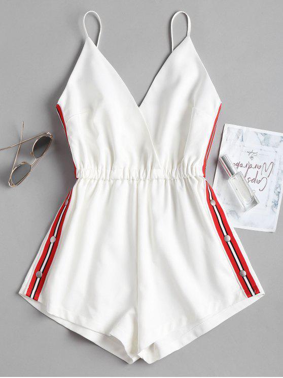 Combi-Short avec Empiècements Rayés et Boutons de Pressions - Blanc S