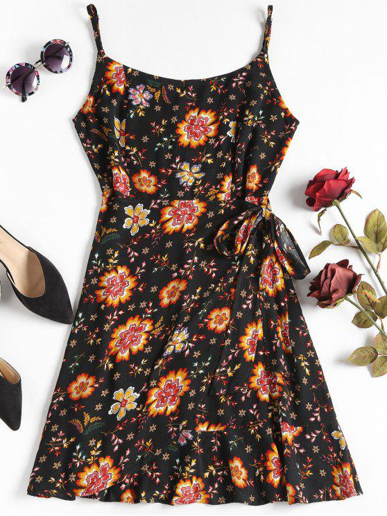 unique Overlap Floral Mini Dress - BLACK L