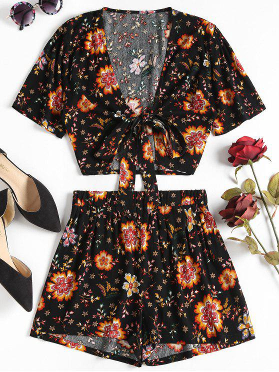 Top Floral Tie Frente e Shorts Set - Preto L
