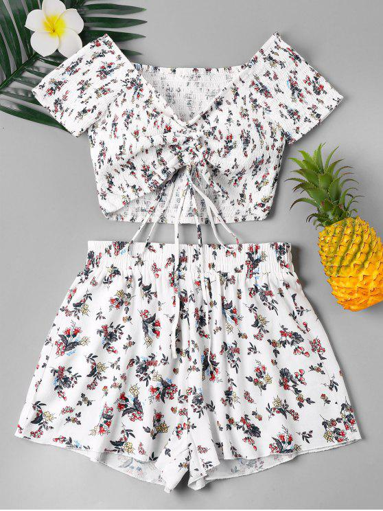 sale Floral Smocked Two Piece Shorts Set - WHITE S