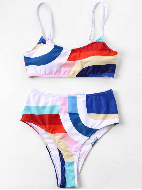 fancy Color Block High Leg Bikini - MULTI XL