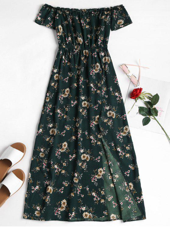 fashion Off The Shoulder Floral Sundress - DARK FOREST GREEN M