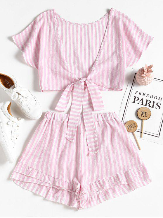 women's Bowknot Stripes Top and Tiered Hem Shorts Set - PIG PINK S