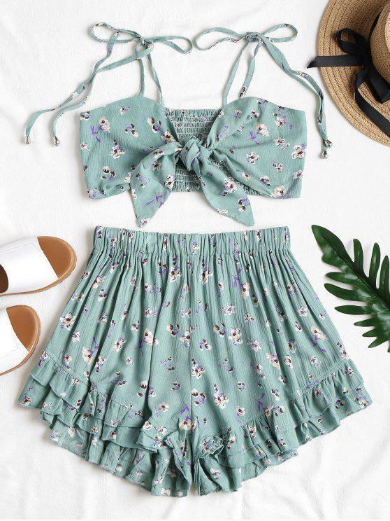 latest Tie Front Floral Top and Shorts Set - CYAN OPAQUE M