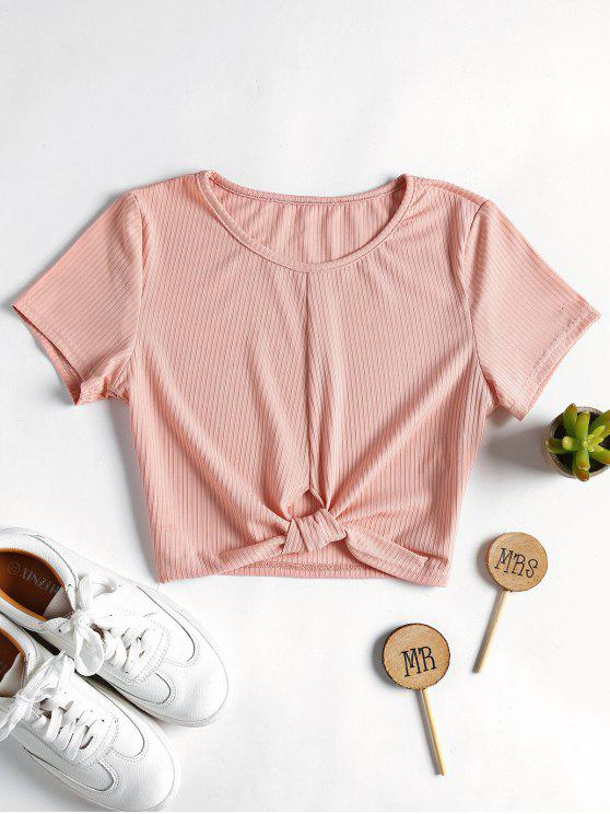 online Ribbed Knotted Top - LIGHT PINK L