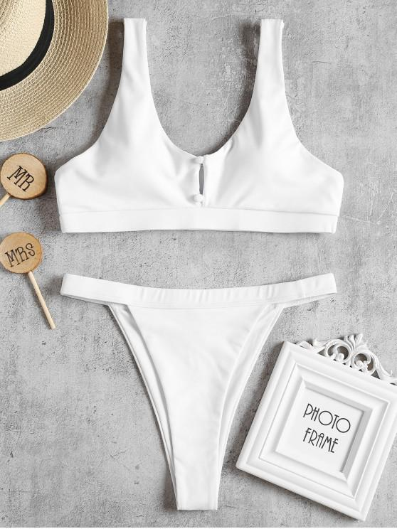 fancy Covered Buttons Thong Bikini Set - WHITE S