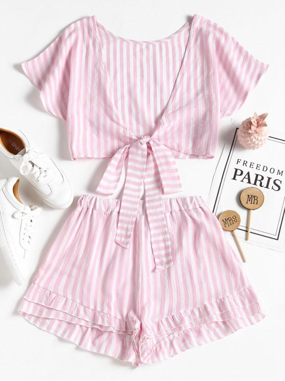 lady Bowknot Stripes Top and Tiered Hem Shorts Set - PIG PINK L