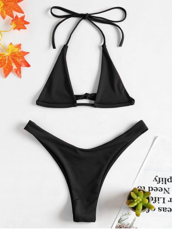 Halter Micro Bikini Set - Schwarz L
