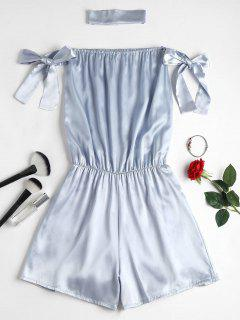 Choker Tie Sleeve Off The Shoulder Romper - Silver M