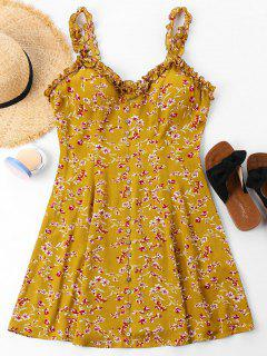 Floral Print Buttons Dress - School Bus Yellow S