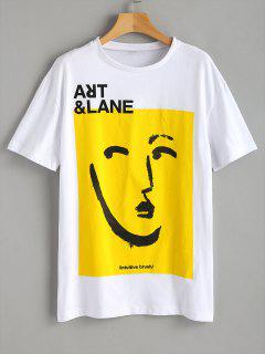 Graphic Front Oversized Tee - White M