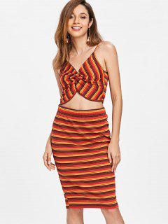 Twist Stripe Knit Two Piece Dress - Red M