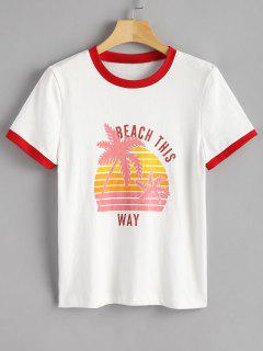 Palm Tree Print Graphic Ringer Tee - White S
