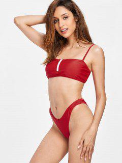 Reißverschluss Oben Hohes Bein Bikini Set - Liebes Rot L