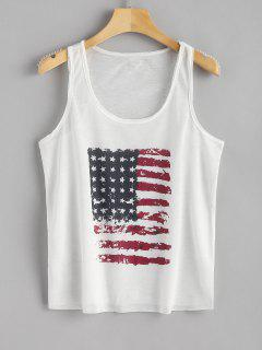Raw Edge American Flag Print Tank Top - White M