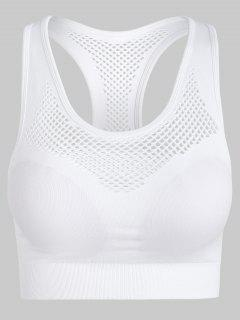 Stretch Knit Mesh Seamless Sports Bra - White S