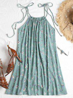 Knotted Floral Cami Dress - Cyan Opaque L