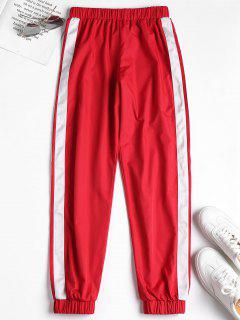 Stripe Side Jogger Tracksuit Pants - Red L