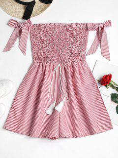 Smocked Striped Cute Romper - Red M