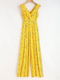 Ruffles Criss Cross Jumpsuit - Yellow L