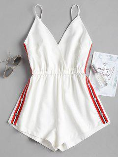 Snap Button Stripes Panel Romper - White S